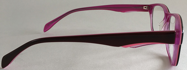 Pink eyeglasses side