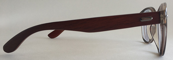 side veiw wooden round glasses