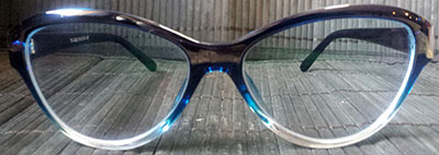Blue tinted cats eyeglasses front