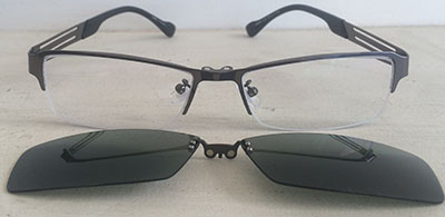 Half Rim Prescription Eyeglasses with clipon
