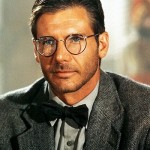 Indiana Jones with the wire-rimmed wayfarer glasses