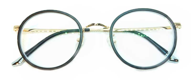 Round glasses with gold and black- folded