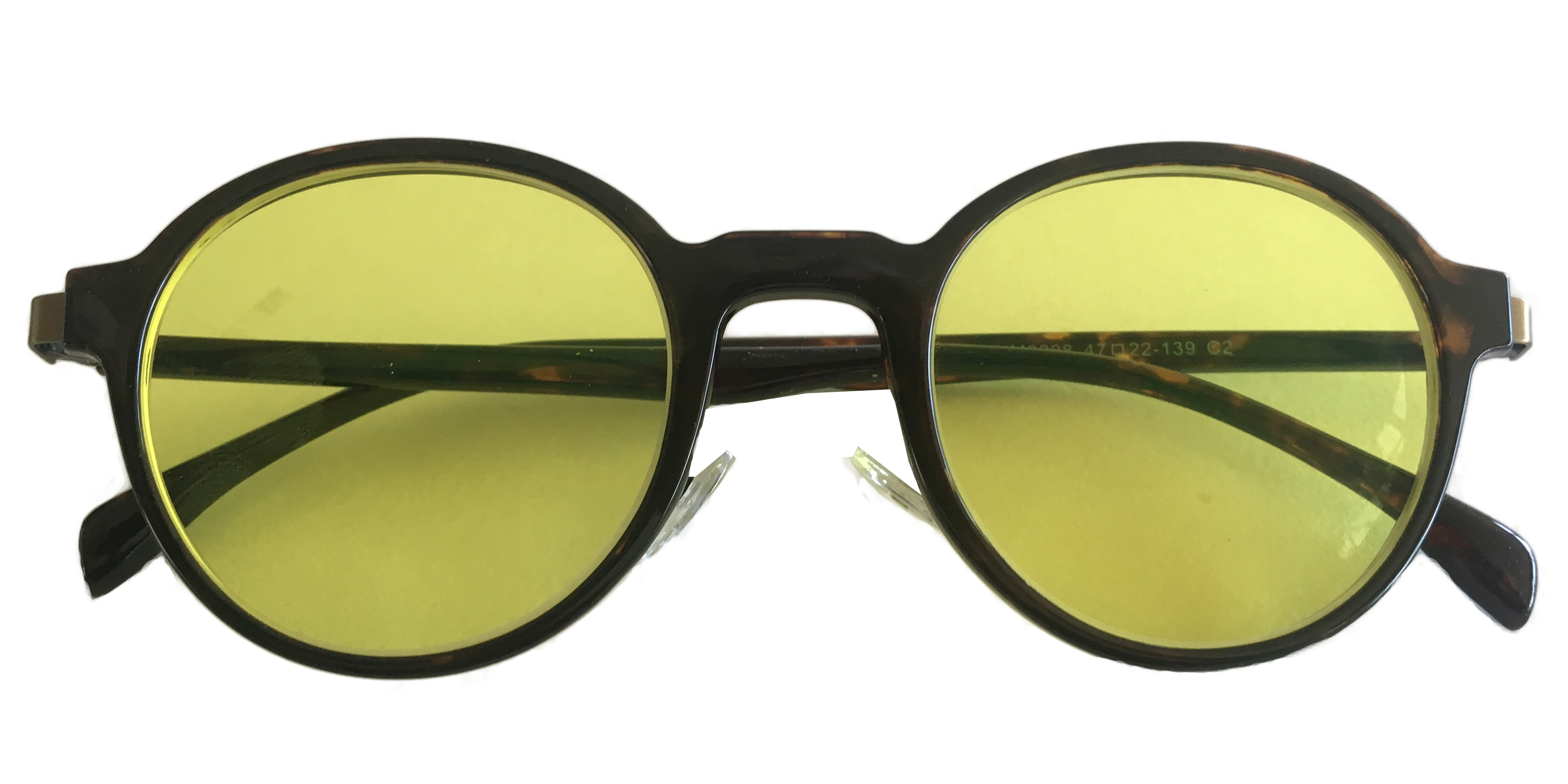 Medium yellow tinted round glasses