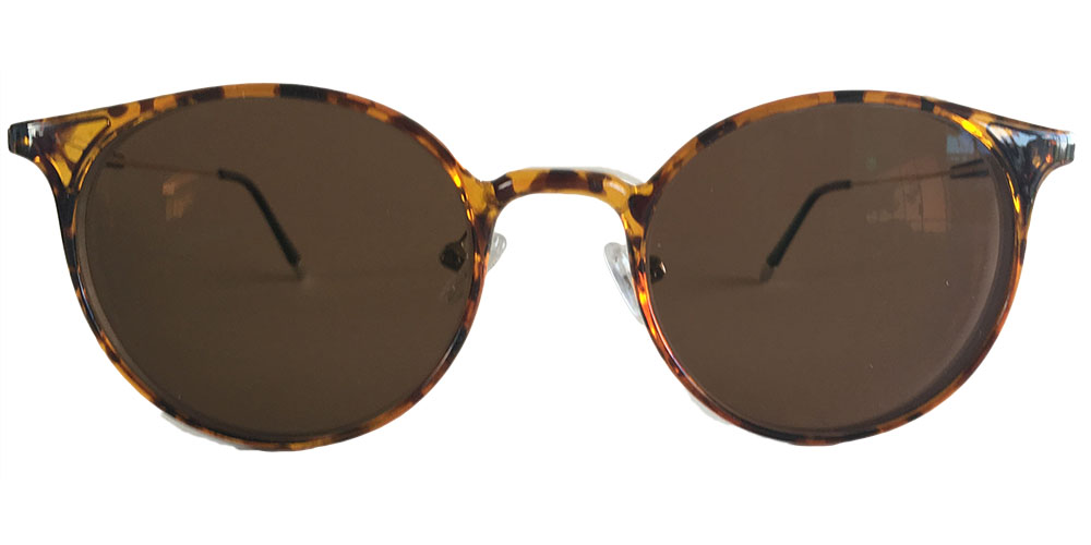 Brown tinted round glasses
