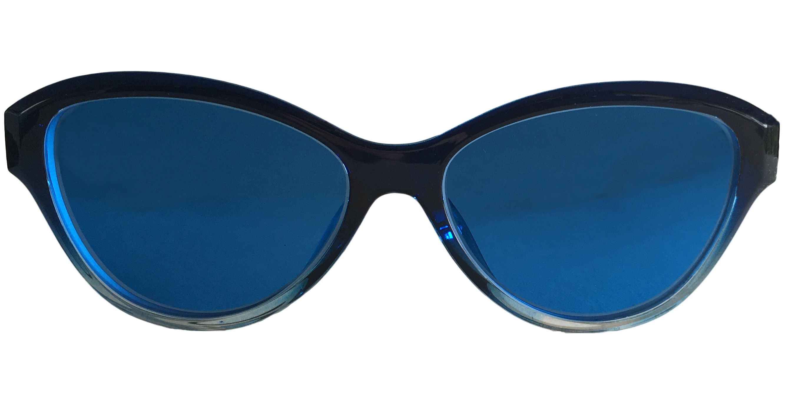 blue tinted cateye glasses