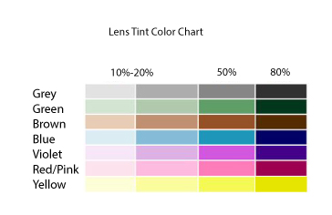 Lens tint colors