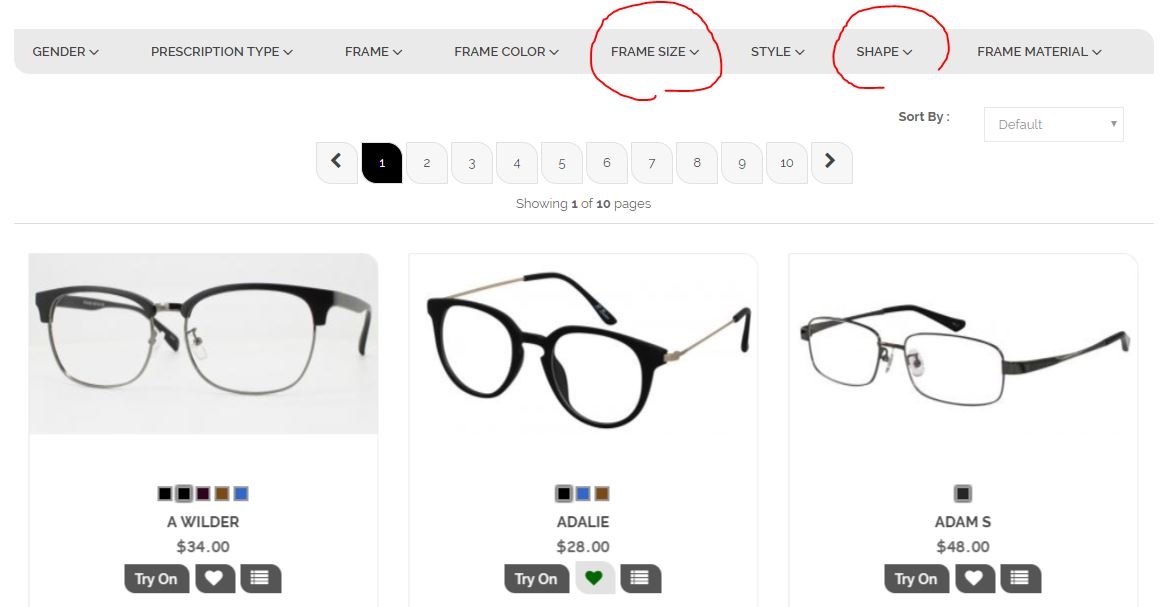 how to filter to find the right eyeglasses
