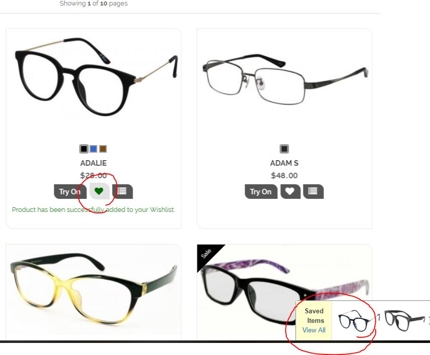 how to save your eyeglasses to your wishlist